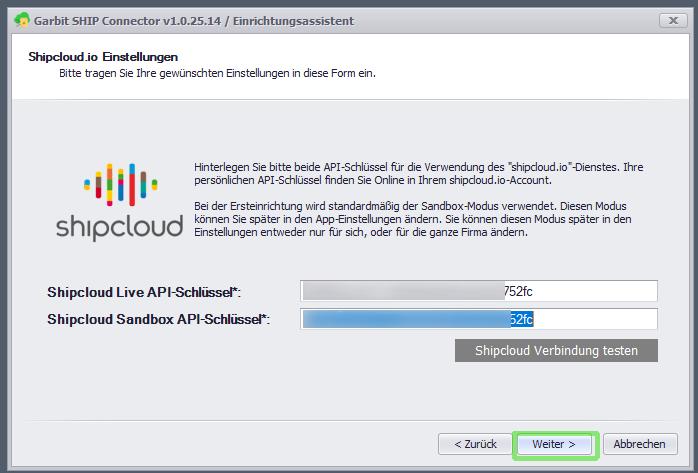 API-Schlüssel hinterlegen